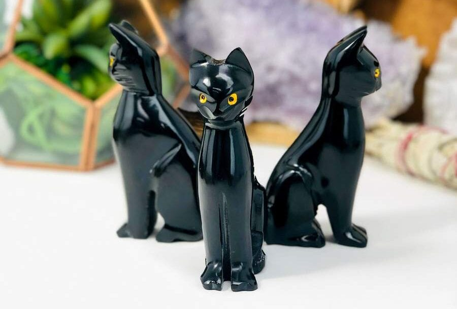 black onyx cat figurines sculpture
